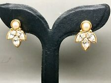 NAPIER Pearl & Crystal Rhinestone Clip on Earrings High-End RRP £32.50