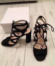 Miss Selfridge Black Lace Up Suede Heels 6 Immaculate