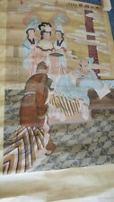 Antique Chinese paper 5 figure  scroll  wall hanging signed