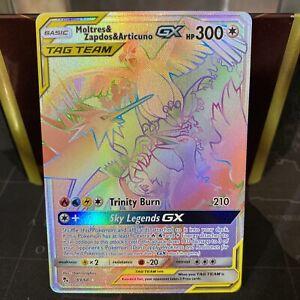 Moltres & Zapdos & Articuno GX 69/68 Secret Rare Rainbow Pokemon Card Near NM/M