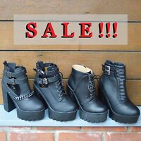 Ladies Cleated sole high heel boots womens chunky platform black shoes
