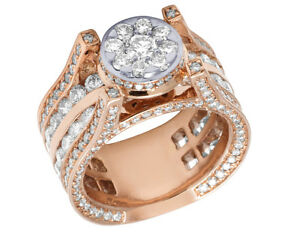 Ladies Real Diamond Round Engagement 3D Ring In 10K Rose White Gold 5.10 CT