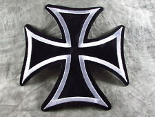 """Large Biker Iron Cross Black Silver Embroidered Sew On Patch 7"""" W  X 7"""" H"""