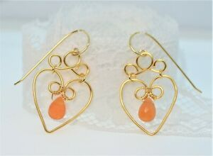 14K Gold Filled Wire Wrapped Aventurine Heart Earrings for Women Valentine's Day
