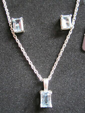 In Sterling Silver Necklace & Earrings Set New In Gift Box Blue Topaz Set
