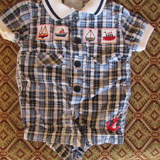 NWOT New Boys baby A little Angel one piece blue plaid sailboat beach 3 - 6 mths