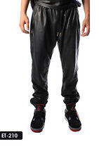 Genuine Soft Lambskin Leather Men Gold Zippers Track Pants