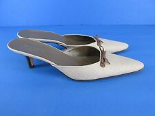 Kate Spade New York Italy Beige Cloth Mules with bow Detail size 8 M Shoes