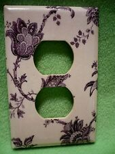 Vintage colorful Purple and Lavender Flower designs wrapped paper outlet cover.