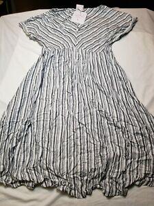 Isabel Maternity Navy Stripe Short Sleeve Knee Length V Neck Dress Size S Cute