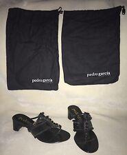NEW Pedro Garcia Black Sequins And Crystals Sandals SZ 38.5