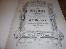 84 ETUDES POUR PIANO J.B. CRAMER HENRY LITOLFF'S VERLAG RARE PARTITION ANCIENNE