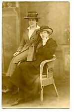 Girl Friends-Hats-Wicker Chair-Studio Picture-RPPC-Vintage Real Photo Postcard