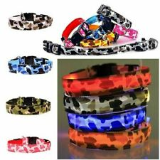 Pet Puppy Dog Collar LED Light Up Safety Night Glow Adjustable Bright Flashing