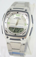 Casio AW-81D-7AV Databank Watch Steel Band 10 Year Battery White World Time New
