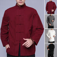 Retro Men Linen Casual Long Sleeve Collar Chinese Style Kung Fu Tee Top Shirts