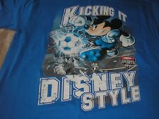 Large Mickey Mouse Kicking it Disney Style Soccer Wide World of Sports Blue Tee