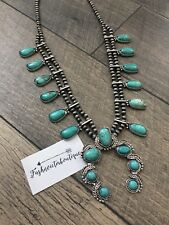 Southwest Native Silver And Turquoise Squash Blossom Necklace