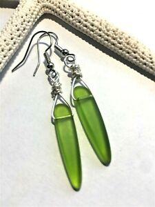 Sea Glass Earrings Lime Green Tusk Sea Glass Dangle Earrings