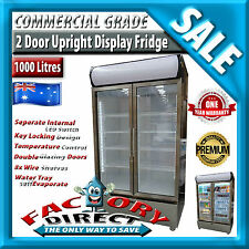1000 Litre Stainless Steel Commercial Upright Display Fridge 12 Months Warranty!