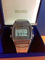 SEIKO SILVER WAVE A257-5020 A2 Digital Alarm Chronograph Wristwatch In Case