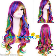 Long Multi Color Rainbow wig Rock Spring Bouquet wavy fashion Cosplay party Wigs