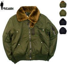 Mens US Air Force B-15 Jacket Pilot Bomber Fur Collar Flight Jacket Casual Coat