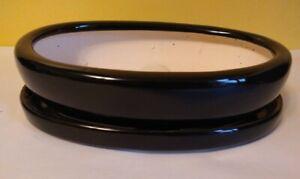 "Lovely Bonsai Pot & Saucer 9"" long NEW, Black"