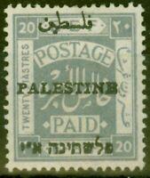 Palestine 1920 20p Pâle Gris SG26d Type 4 Erreur Fin & Frais MTD Excellent État