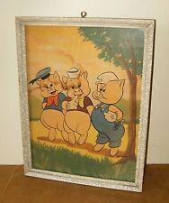 ancienne affiche poster LES TROIS PETITS COCHONS - Walt Disney Production - 50's