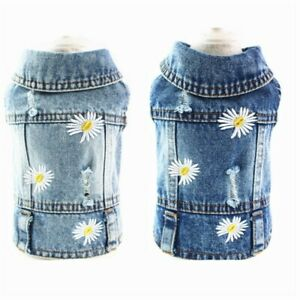 New Pet Dog Denim Jacket Vest Clothes Daisies Blue Jeans Puppy Cat Coat Costumes