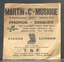 Pochette 78 trs Martin & Cie - Musique  Nancy, 44 rue des Carmes Nancy - VG++