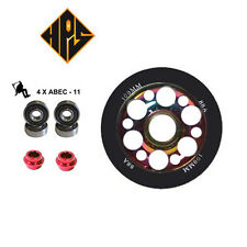 2X PRO STUNT SCOOTER NEO CHROME DRILLED METAL CORE WHEEL 100mm ABEC 9 BEARING 11