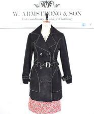 Women's Vintage 70s BLACK GENUINE SUEDE LEATHER Belted Mod Coat Jacket UK M