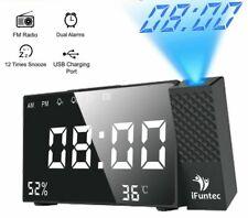 Projection Alarm Clock Digital FM Radio Dual Alarm Volume Snooze Time Humidity