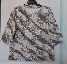 Studio Works Size 3X Cheetah print knit top, round neck, 3/4 sleeve, brown NWT