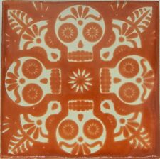 "Handmade Mexican Tile Sample Talavera Clay 4"" x 4"" Tile C398 Terracotta Skull"