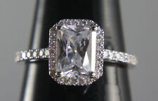 Engagement Ring Estate 14k White Gold Emerald Cut Simulated Diamond BRIDAL Ring
