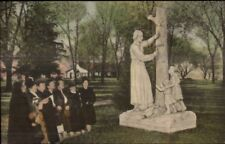 Auriesville NY Statue of St. Isaac Jogues Hand Colored Postcard