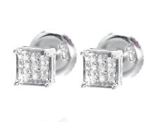 10k White Gold Mens Ladies 5mm Round Diamond 4 Prong Pave Stud Earrings 1/20ct
