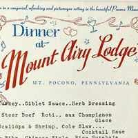 Vintage 1967 Mount Airy Lodge Hotel Restaurant Menu Mt Pocono Pennsylvania