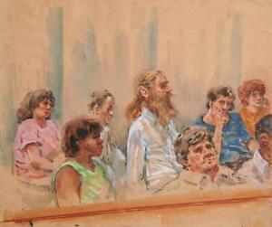 Marshall Goodman, Untitled - 8 Figures, Jurors, Bearded Man with Pony Tail, Mark