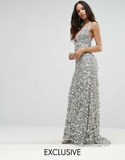 A Star Is Born Plunge Embellished Maxi Dress With Train UK6 EU34 XS RRP£265