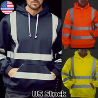 Mens High Visibility Hoodie Work Hooded Sweatshirt Outwear Overall Pullover US