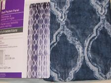 STYLE SELECTIONS Blue Curtain Drape Jareth Geometric Rod Pocket Sheer 50x84 NIP