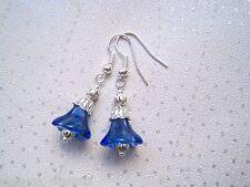 *BLUEBELL COBALT BLUE GLASS BELL FLOWER* SP Tibetan Silver Drop Earrings