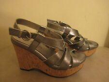 """New Michael Shannon Strappy leather Wedge Heel Sandals Size 6M 4.5"""" HEEL"""