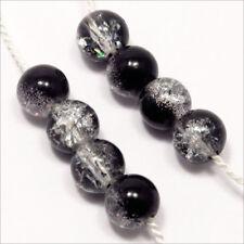 Lot de 50 Perles Craquelées en Verre 6mm Bicolore Noir Cristal