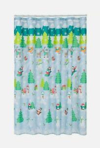 Snowman Winter St.Nicholas Square Multi-Color NEW Quality Fabric Shower Curtain