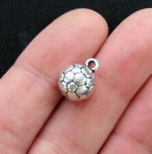 BULK 20 Soccer Ball Charms Antique Silver Tone 3D - SC2894